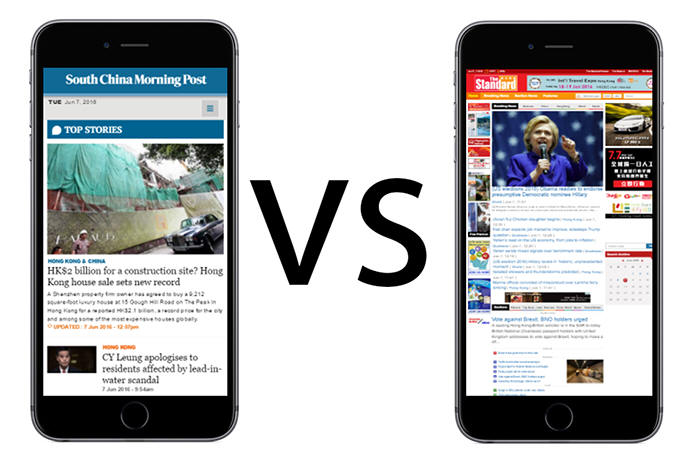 scmp.com vs thestandard.com.hk mobile phone friendliness
